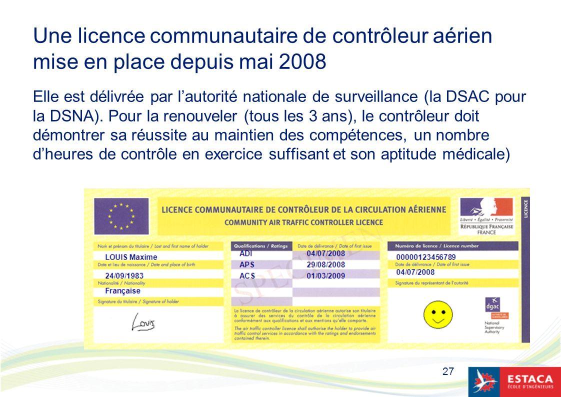 27 Une licence communautaire de contrôleur aérien mise en place depuis mai 2008 Elle est délivrée par lautorité nationale de surveillance (la DSAC pou