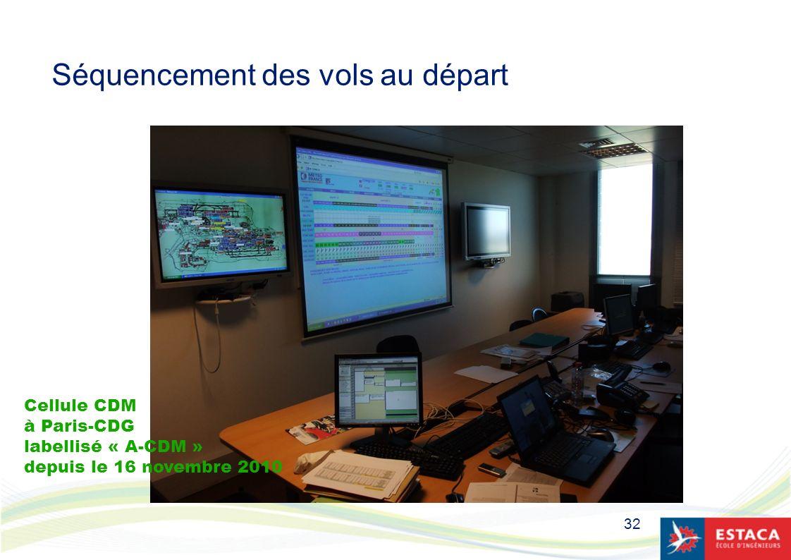 32 Séquencement des vols au départ Cellule CDM à Paris-CDG labellisé « A-CDM » depuis le 16 novembre 2010