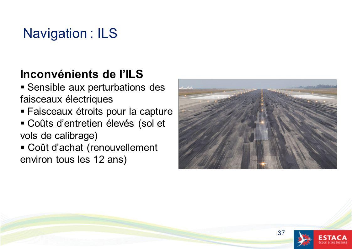 37 Navigation : ILS Inconvénients de lILS Sensible aux perturbations des faisceaux électriques Faisceaux étroits pour la capture Coûts dentretien élev