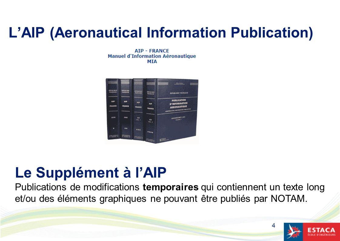 4 LAIP (Aeronautical Information Publication) Le Supplément à lAIP Publications de modifications temporaires qui contiennent un texte long et/ou des é