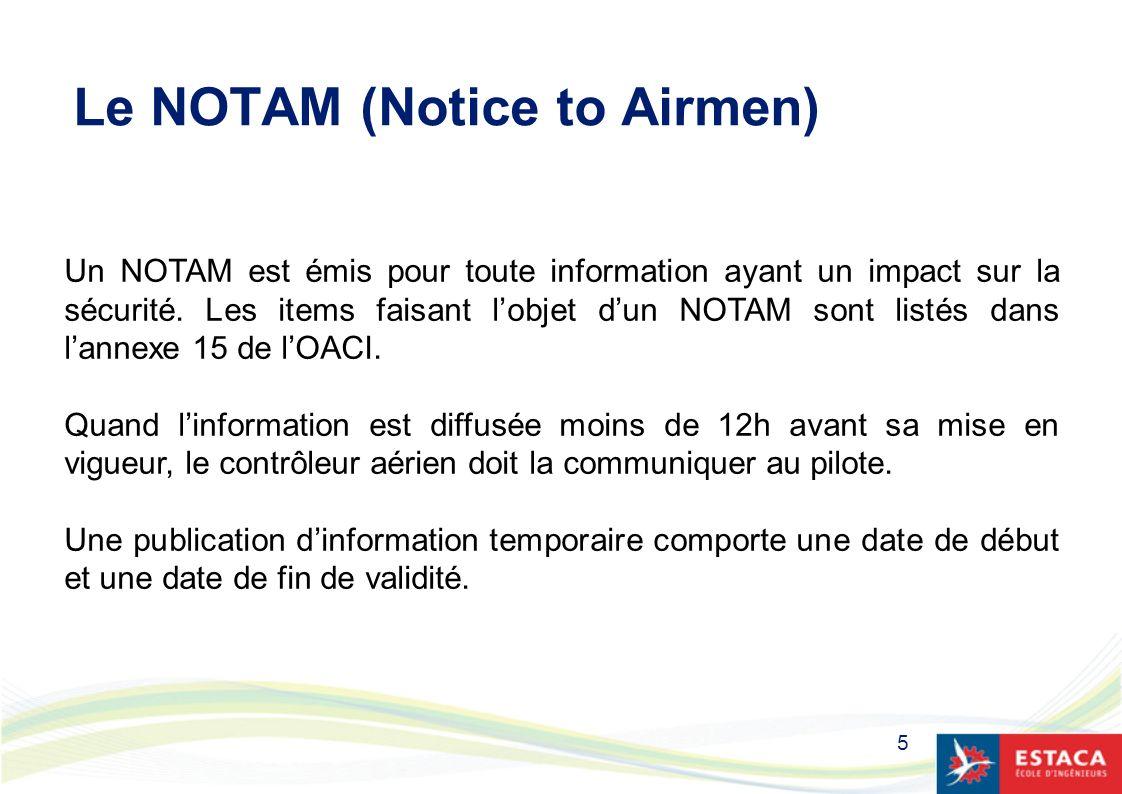 5 Le NOTAM (Notice to Airmen) Un NOTAM est émis pour toute information ayant un impact sur la sécurité. Les items faisant lobjet dun NOTAM sont listés