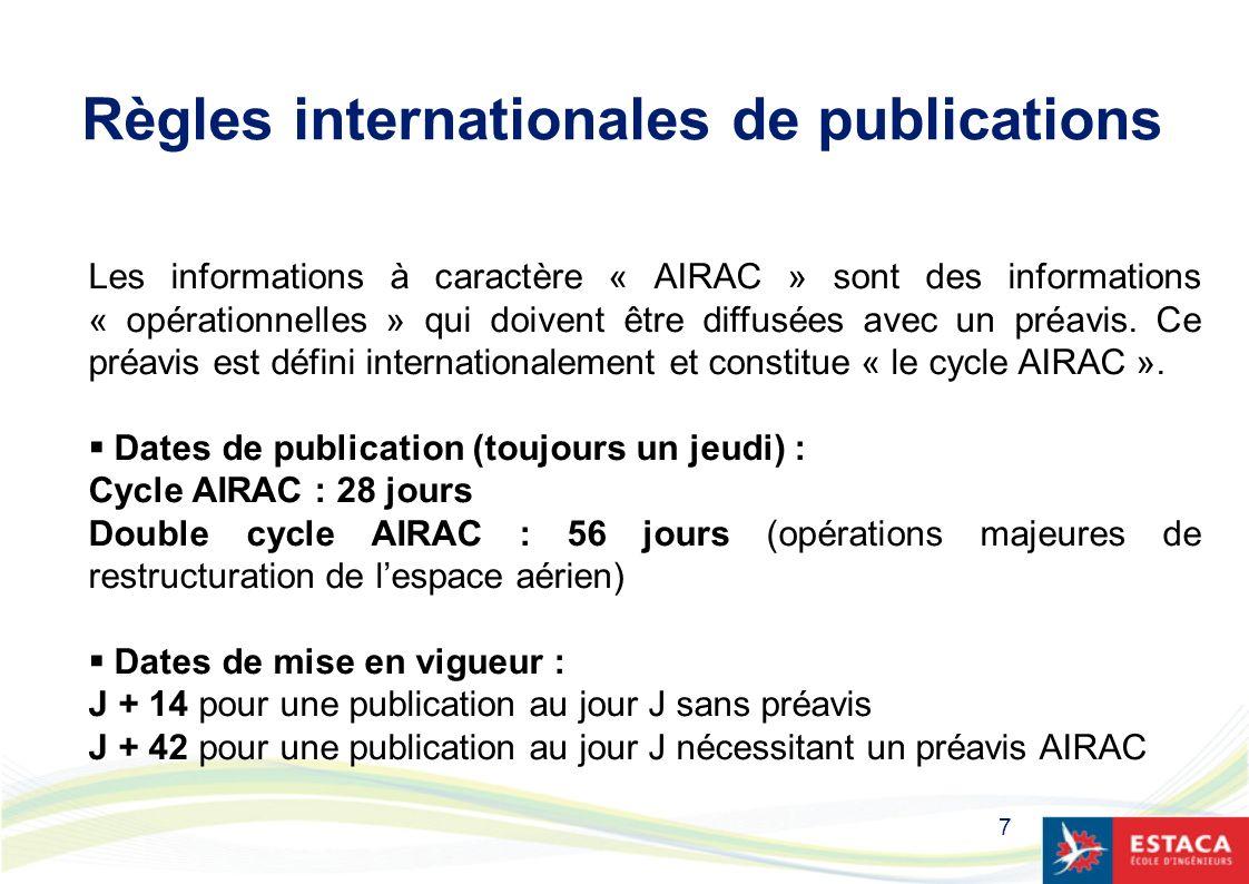 7 Règles internationales de publications Les informations à caractère « AIRAC » sont des informations « opérationnelles » qui doivent être diffusées a