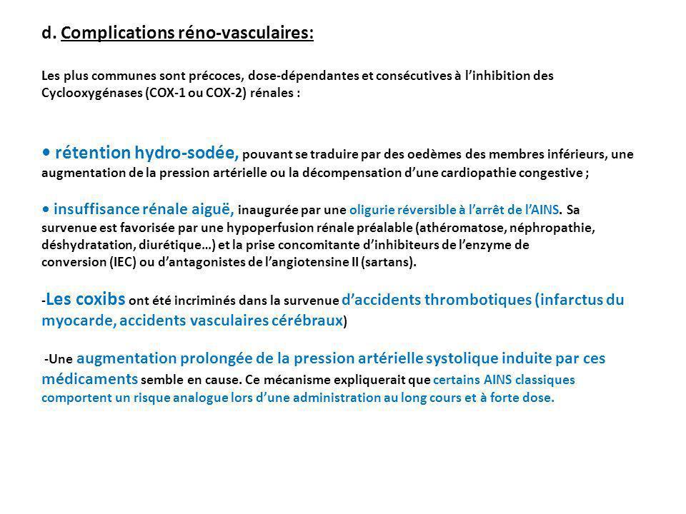 d. Complications réno-vasculaires: Les plus communes sont précoces, dose-dépendantes et consécutives à linhibition des Cyclooxygénases (COX-1 ou COX-2
