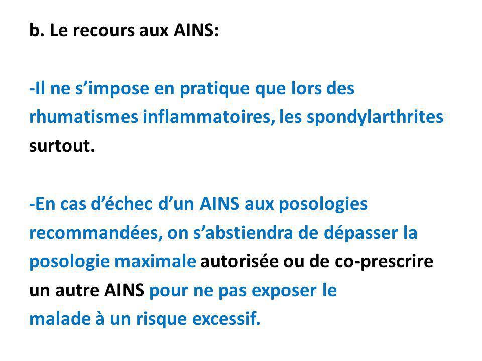 b. Le recours aux AINS: -Il ne simpose en pratique que lors des rhumatismes inflammatoires, les spondylarthrites surtout. -En cas déchec dun AINS aux
