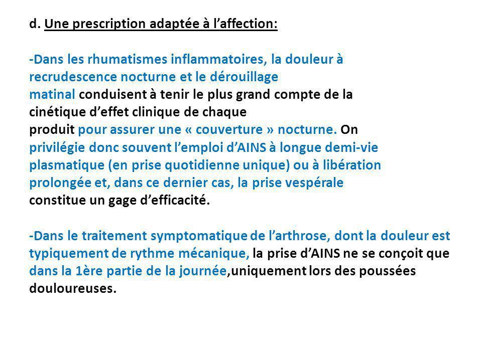 d. Une prescription adaptée à laffection: -Dans les rhumatismes inflammatoires, la douleur à recrudescence nocturne et le dérouillage matinal conduise