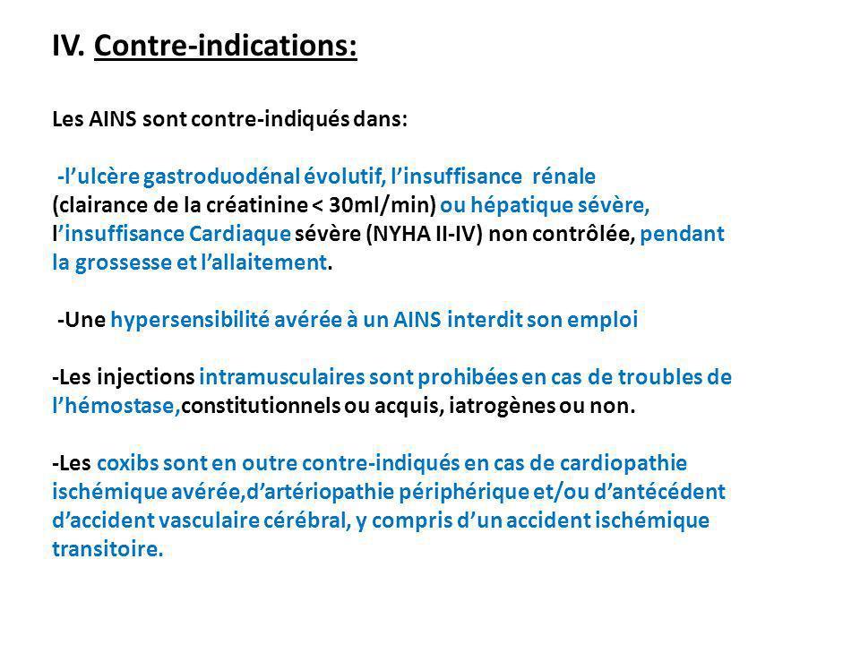 IV. Contre-indications: Les AINS sont contre-indiqués dans: -lulcère gastroduodénal évolutif, linsuffisance rénale (clairance de la créatinine < 30ml/
