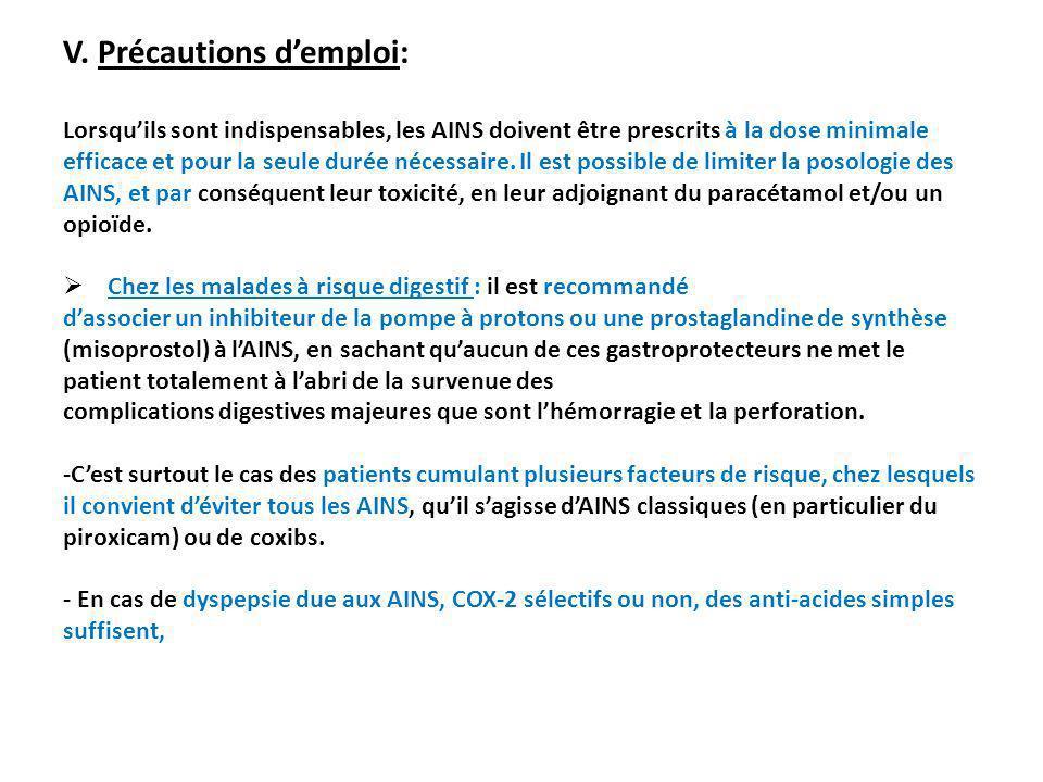 V. Précautions demploi: Lorsquils sont indispensables, les AINS doivent être prescrits à la dose minimale efficace et pour la seule durée nécessaire.