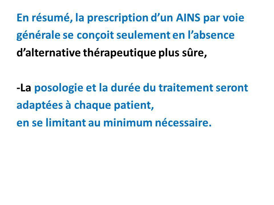 En résumé, la prescription dun AINS par voie générale se conçoit seulement en labsence dalternative thérapeutique plus sûre, -La posologie et la durée