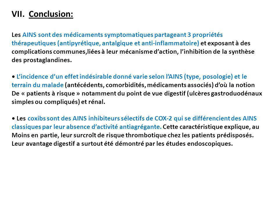 VII. Conclusion: Les AINS sont des médicaments symptomatiques partageant 3 propriétés thérapeutiques (antipyrétique, antalgique et anti-inflammatoire)