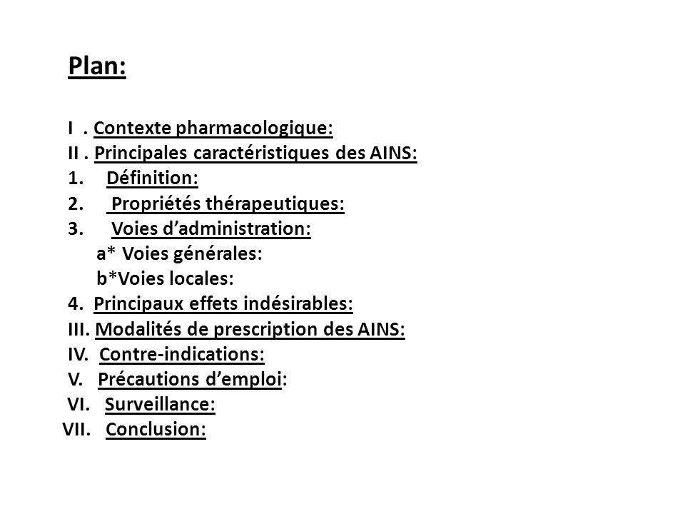 Plan: I. Contexte pharmacologique: II. Principales caractéristiques des AINS: 1.Définition: 2. Propriétés thérapeutiques: 3. Voies dadministration: a*