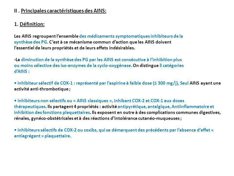 II. Principales caractéristiques des AINS: 1. Définition: Les AINS regroupent lensemble des médicaments symptomatiques inhibiteurs de la synthèse des