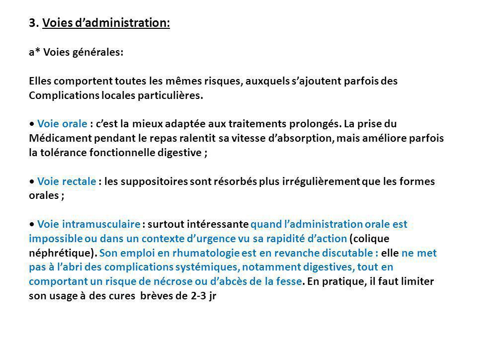 3. Voies dadministration: a* Voies générales: Elles comportent toutes les mêmes risques, auxquels sajoutent parfois des Complications locales particul