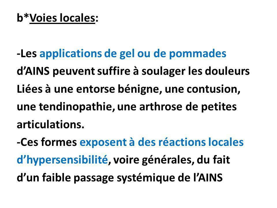 b*Voies locales: -Les applications de gel ou de pommades dAINS peuvent suffire à soulager les douleurs Liées à une entorse bénigne, une contusion, une
