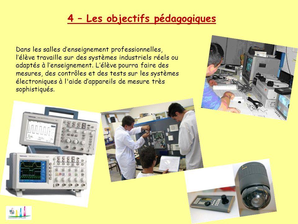 4 – Les objectifs pédagogiques Dans les salles denseignement professionnelles, lélève travaille sur des systèmes industriels réels ou adaptés à lensei