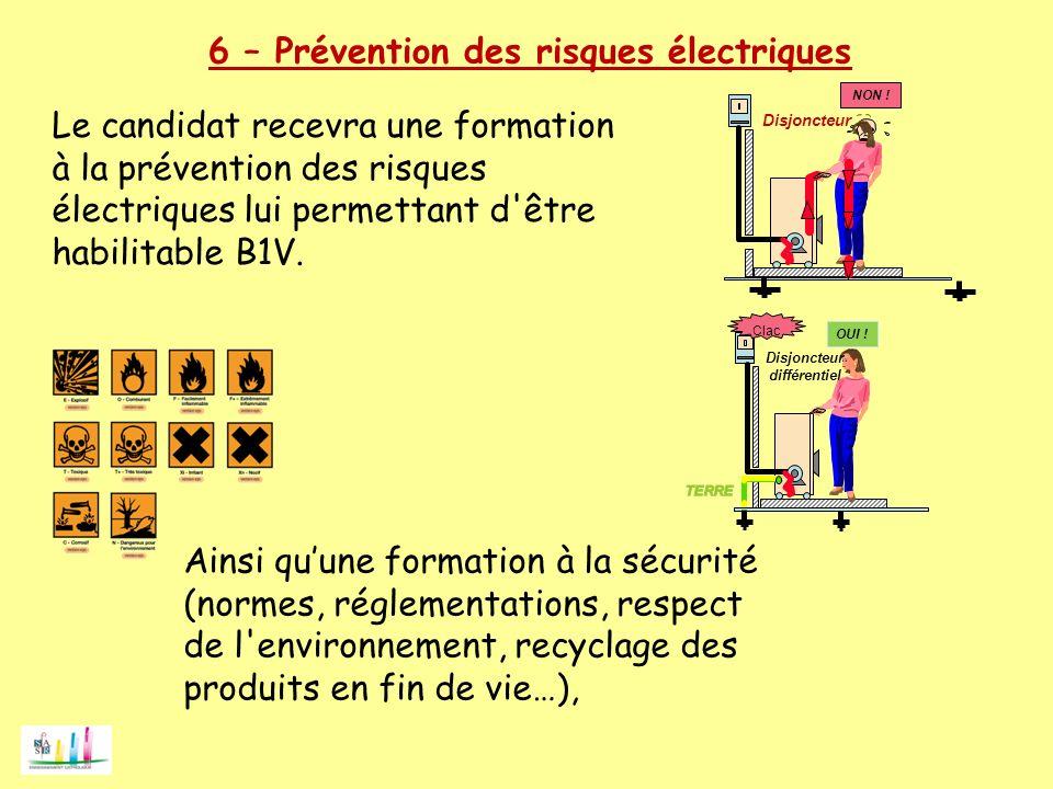 NON ! Disjoncteur Clac OUI ! Disjoncteur différentiel 6 – Prévention des risques électriques Le candidat recevra une formation à la prévention des ris