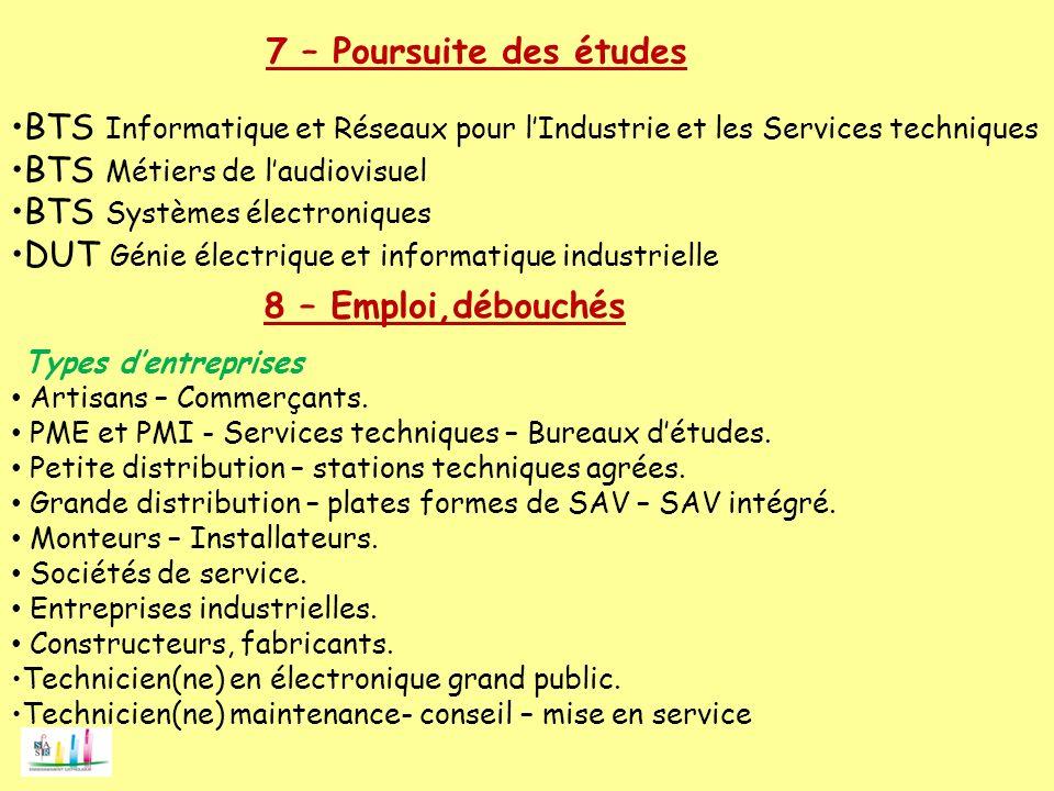 BTS Informatique et Réseaux pour lIndustrie et les Services techniques BTS Métiers de laudiovisuel BTS Systèmes électroniques DUT Génie électrique et