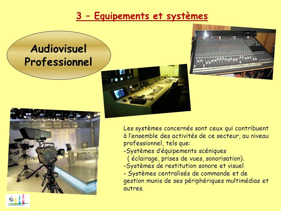 Audiovisuel Professionnel 3 – Equipements et systèmes Les systèmes concernés sont ceux qui contribuent à lensemble des activités de ce secteur, au niv