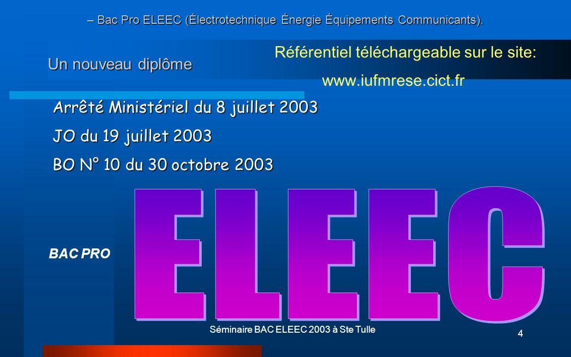 Séminaire BAC ELEEC 2003 à Ste Tulle15 LE TITULAIRE DU BAC PRO ELEEC Ses compétences lui permettent de construire et de raccorder - des tableaux - des armoires électriques - des sous-ensembles mettant en œuvre des équipements...