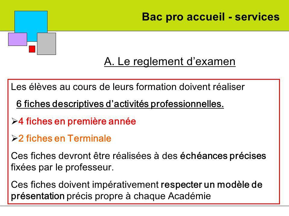 Bac pro accueil - services A. Le reglement dexamen Les élèves au cours de leurs formation doivent réaliser 6 fiches descriptives dactivités profession