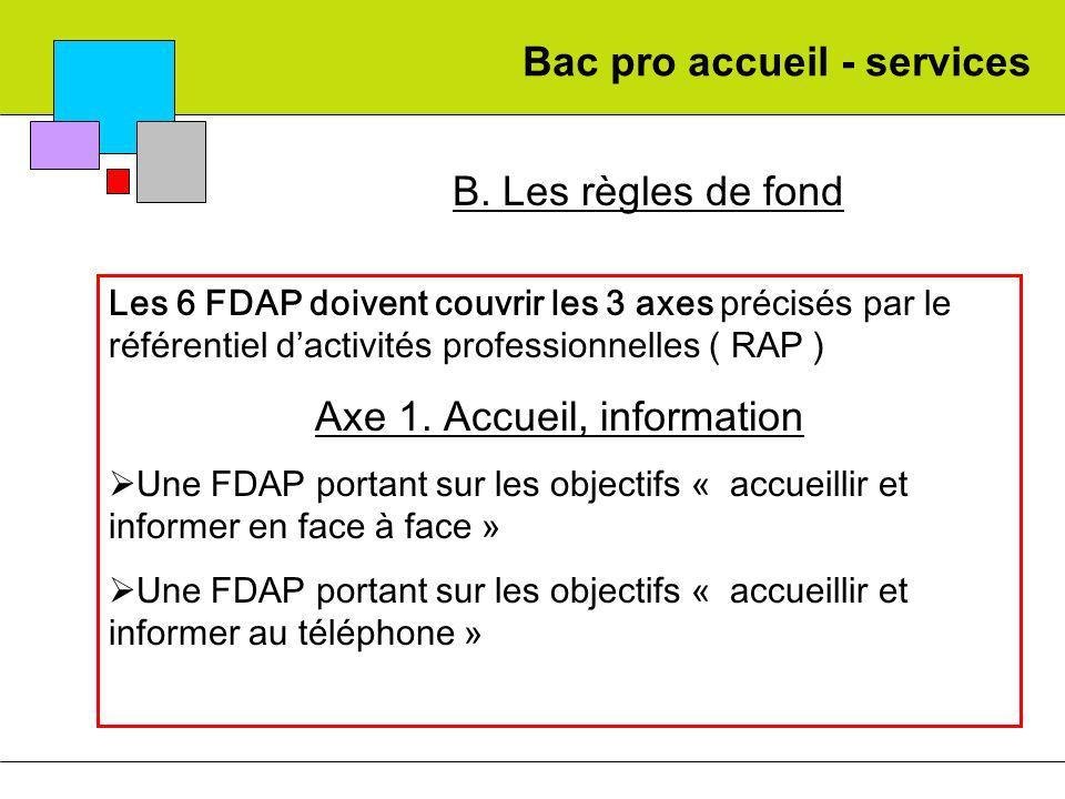 Bac pro accueil - services B. Les règles de fond Les 6 FDAP doivent couvrir les 3 axes précisés par le référentiel dactivités professionnelles ( RAP )