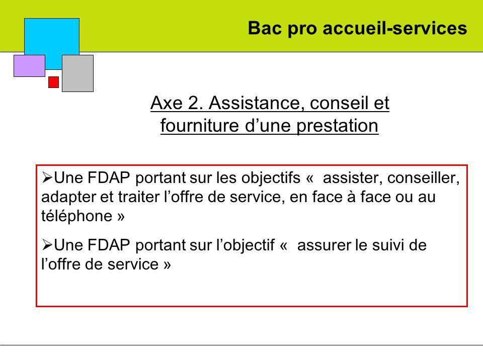 Bac pro accueil-services Axe 2. Assistance, conseil et fourniture dune prestation Une FDAP portant sur les objectifs « assister, conseiller, adapter e