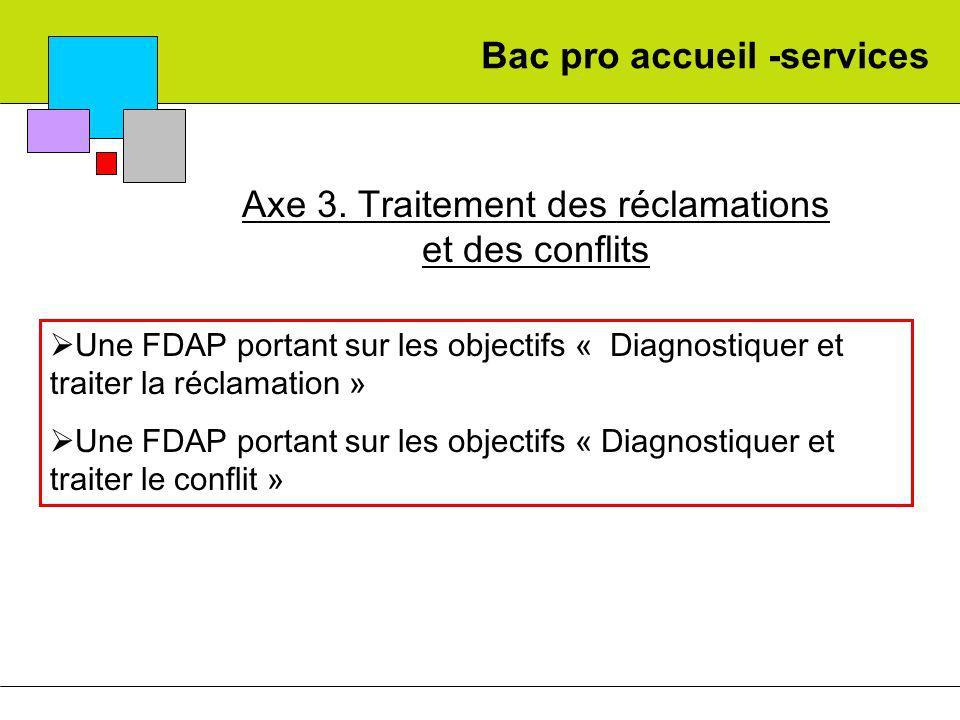 Bac pro accueil -services Axe 3. Traitement des réclamations et des conflits Une FDAP portant sur les objectifs « Diagnostiquer et traiter la réclamat