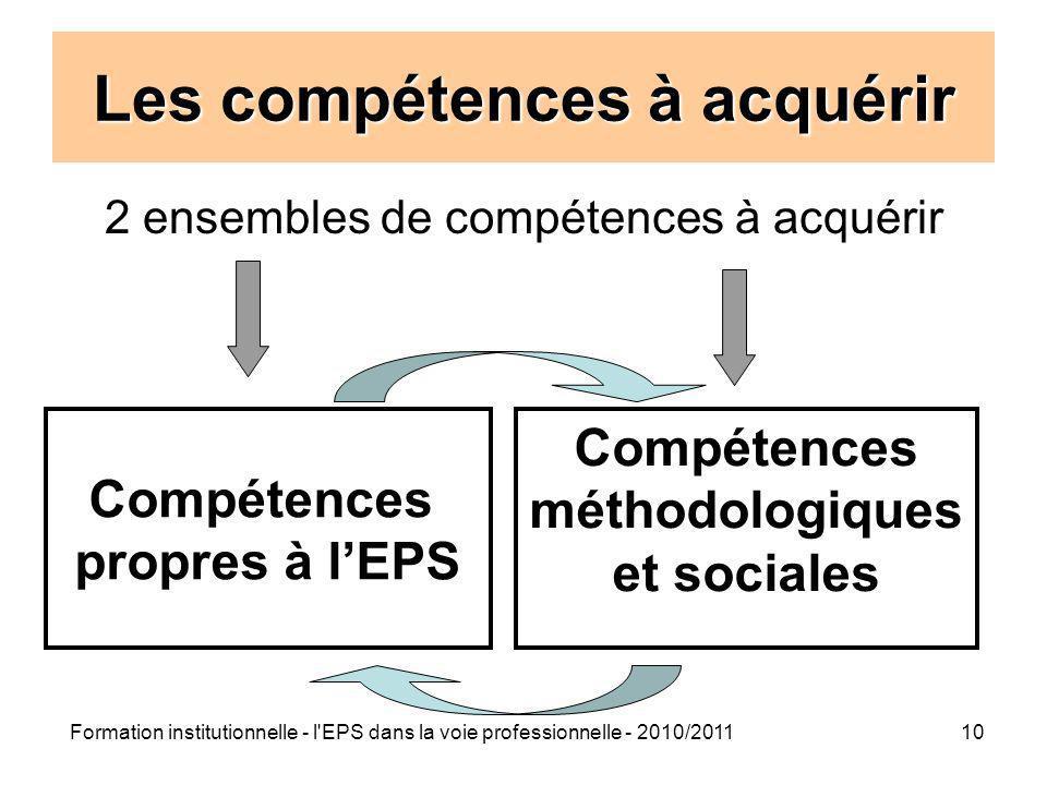Formation institutionnelle - l'EPS dans la voie professionnelle - 2010/201110 Les compétences à acquérir 2 ensembles de compétences à acquérir Compéte
