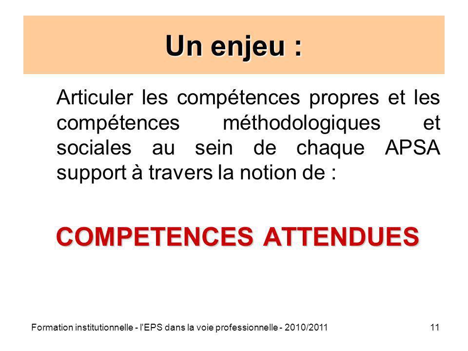 Formation institutionnelle - l'EPS dans la voie professionnelle - 2010/201111 Un enjeu : Articuler les compétences propres et les compétences méthodol