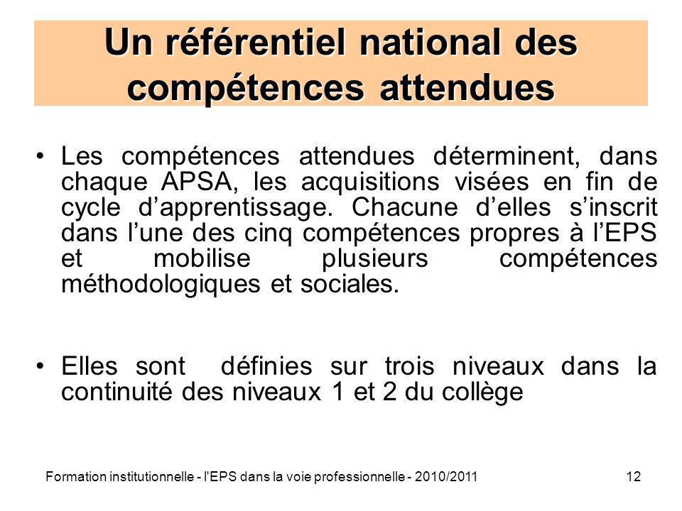 Formation institutionnelle - l'EPS dans la voie professionnelle - 2010/201112 Un référentiel national des compétences attendues Les compétences attend