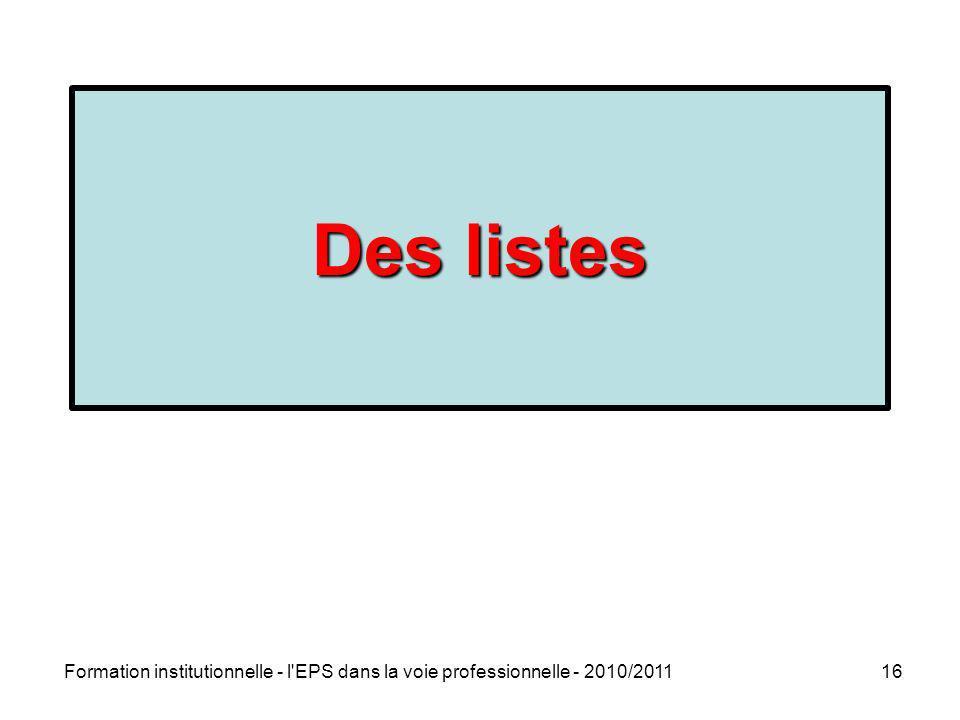 Formation institutionnelle - l'EPS dans la voie professionnelle - 2010/201116 Des listes