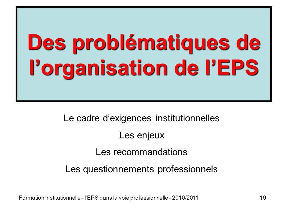 Formation institutionnelle - l'EPS dans la voie professionnelle - 2010/201119 Des problématiques de lorganisation de lEPS Le cadre dexigences institut
