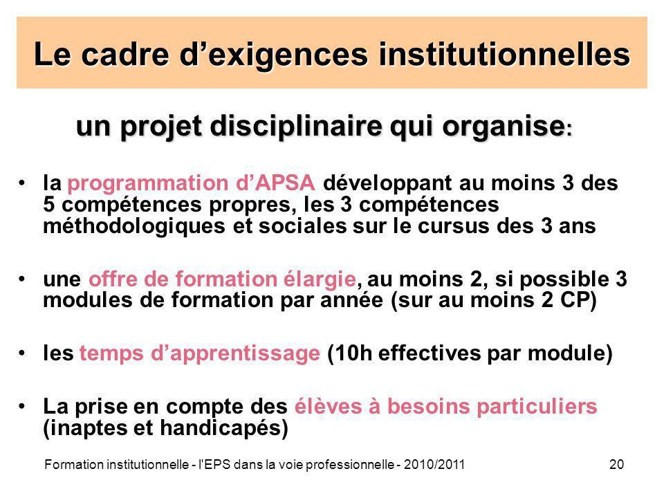Formation institutionnelle - l'EPS dans la voie professionnelle - 2010/201120 Le cadre dexigences institutionnelles un projet disciplinaire qui organi
