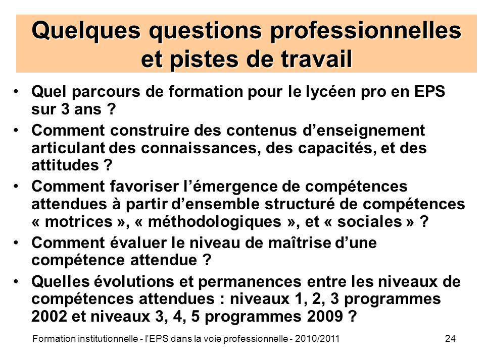 Formation institutionnelle - l'EPS dans la voie professionnelle - 2010/201124 Quelques questions professionnelles et pistes de travail Quel parcours d