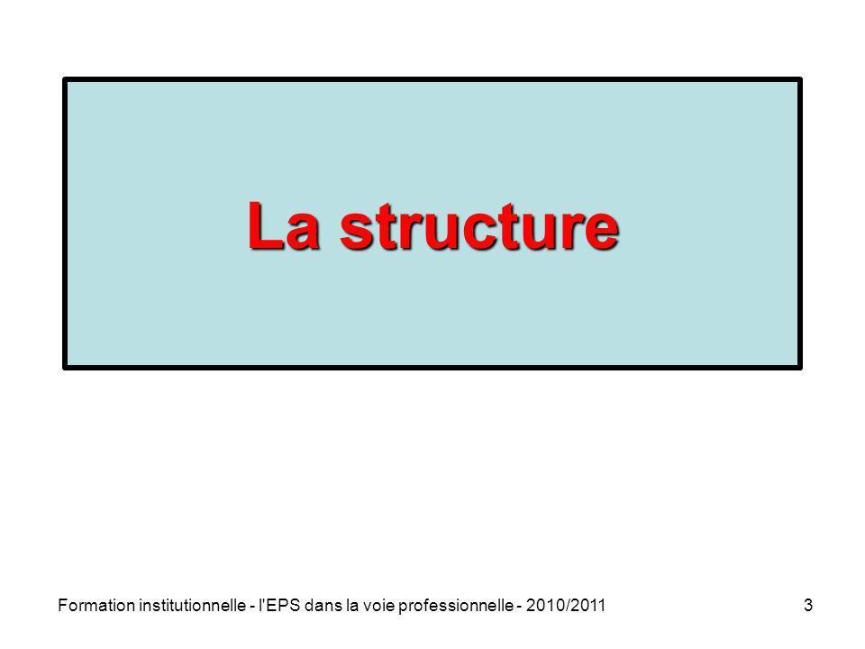 Formation institutionnelle - l'EPS dans la voie professionnelle - 2010/20113 La structure