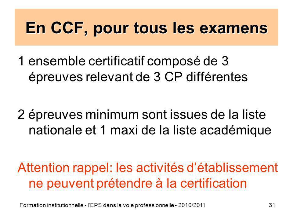 Formation institutionnelle - l'EPS dans la voie professionnelle - 2010/201131 En CCF, pour tous les examens 1 ensemble certificatif composé de 3 épreu