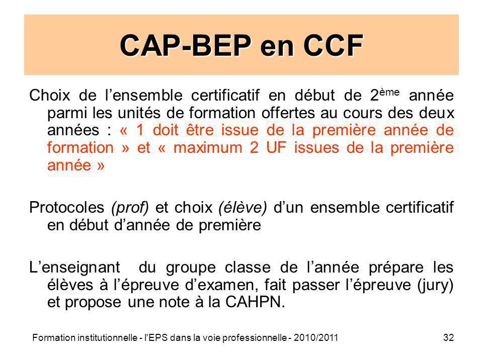 Formation institutionnelle - l'EPS dans la voie professionnelle - 2010/201132 CAP-BEP en CCF Choix de lensemble certificatif en début de 2 ème année p