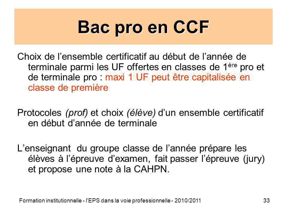 Formation institutionnelle - l'EPS dans la voie professionnelle - 2010/201133 Bac pro en CCF Choix de lensemble certificatif au début de lannée de ter