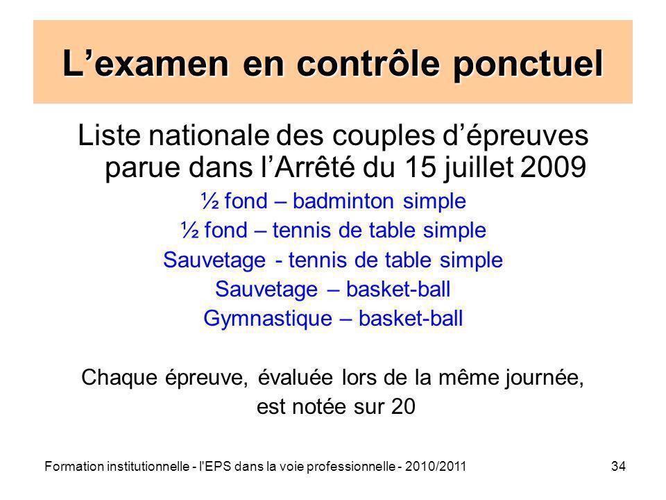 Formation institutionnelle - l'EPS dans la voie professionnelle - 2010/201134 Lexamen en contrôle ponctuel Liste nationale des couples dépreuves parue