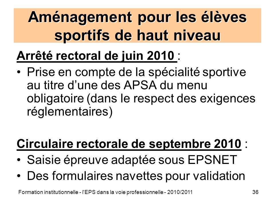 Formation institutionnelle - l'EPS dans la voie professionnelle - 2010/201136 Aménagement pour les élèves sportifs de haut niveau Arrêté rectoral de j