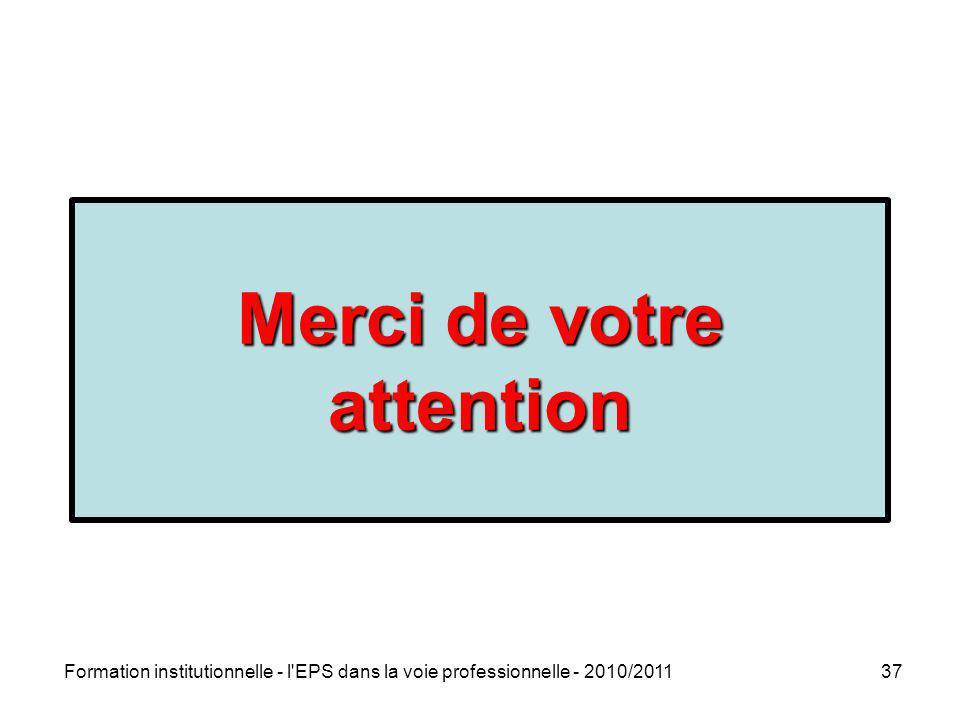 Formation institutionnelle - l'EPS dans la voie professionnelle - 2010/201137 Merci de votre attention