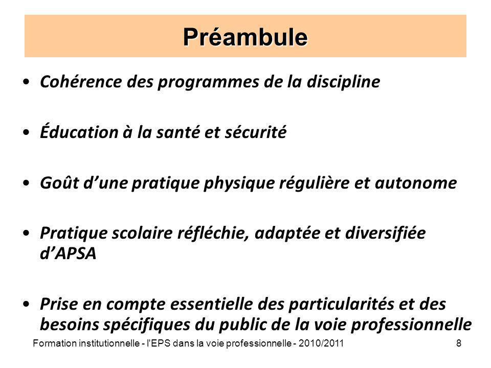 Formation institutionnelle - l'EPS dans la voie professionnelle - 2010/20118 Préambule Cohérence des programmes de la discipline Éducation à la santé
