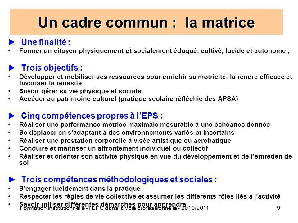 Formation institutionnelle - l'EPS dans la voie professionnelle - 2010/20119 Un cadre commun : la matrice Une finalité : Former un citoyen physiquemen