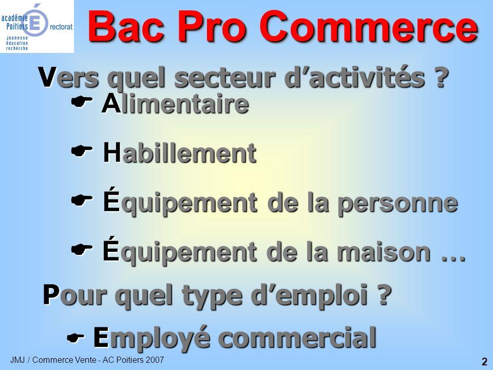 JMJ / Commerce Vente - AC Poitiers 2007 3 Une formation qui allie enseignement général et professionnel Bac Pro Commerce Enseignement Technologique et professionnel 34 % Période de formation en entreprise 26 % Enseignement général 40 %