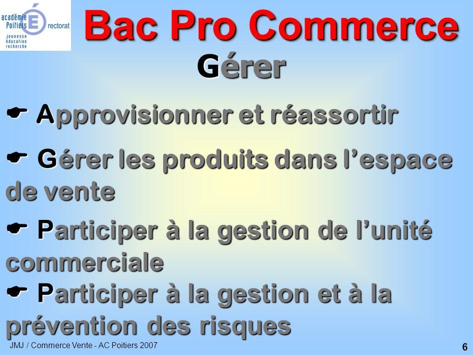 JMJ / Commerce Vente - AC Poitiers 2007 7 Vendre Préparer la vente Préparer la vente Bac Pro Commerce Réaliser la vente de produits Réaliser la vente de produits Contribuer à la fidélisation de la clientèle Contribuer à la fidélisation de la clientèle
