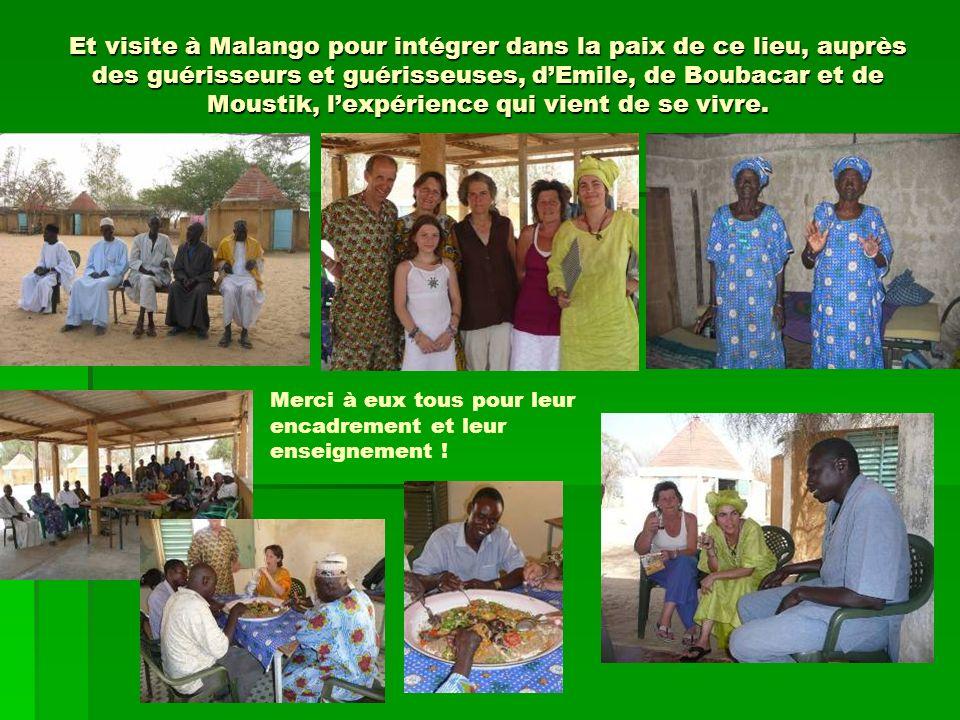 Et visite à Malango pour intégrer dans la paix de ce lieu, auprès des guérisseurs et guérisseuses, dEmile, de Boubacar et de Moustik, lexpérience qui