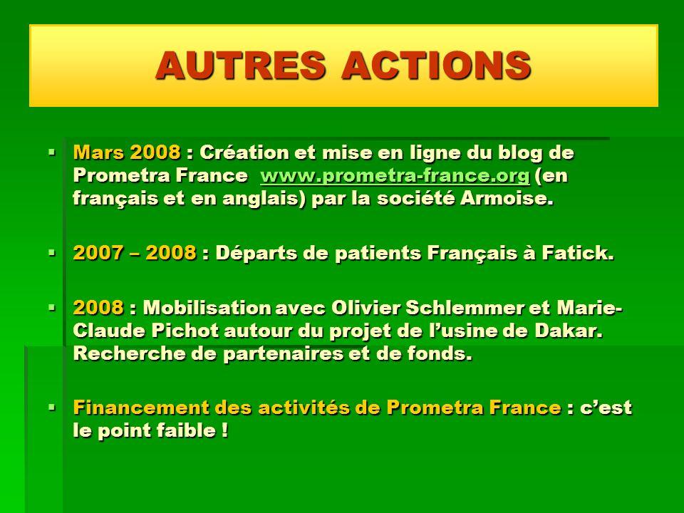 Mars 2008 : Création et mise en ligne du blog de Prometra France www.prometra-france.org (en français et en anglais) par la société Armoise. Mars 2008