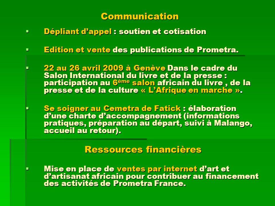 Dépliant dappel : soutien et cotisation Dépliant dappel : soutien et cotisation Edition et vente des publications de Prometra. Edition et vente des pu