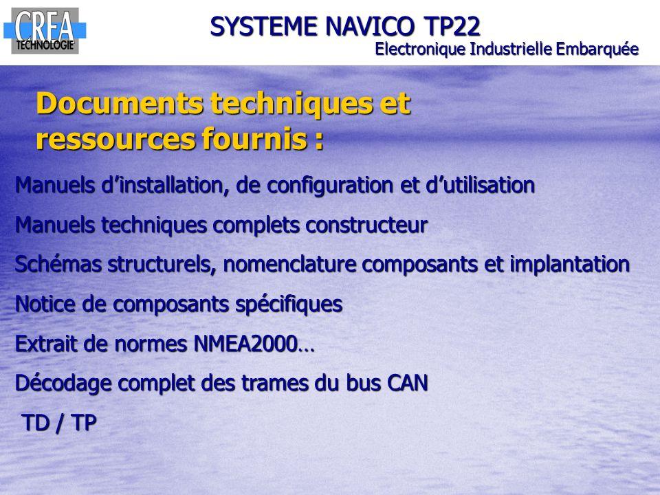 Documents techniques et ressources fournis : SYSTEME NAVICO TP22 Electronique Industrielle Embarquée Manuels dinstallation, de configuration et dutili