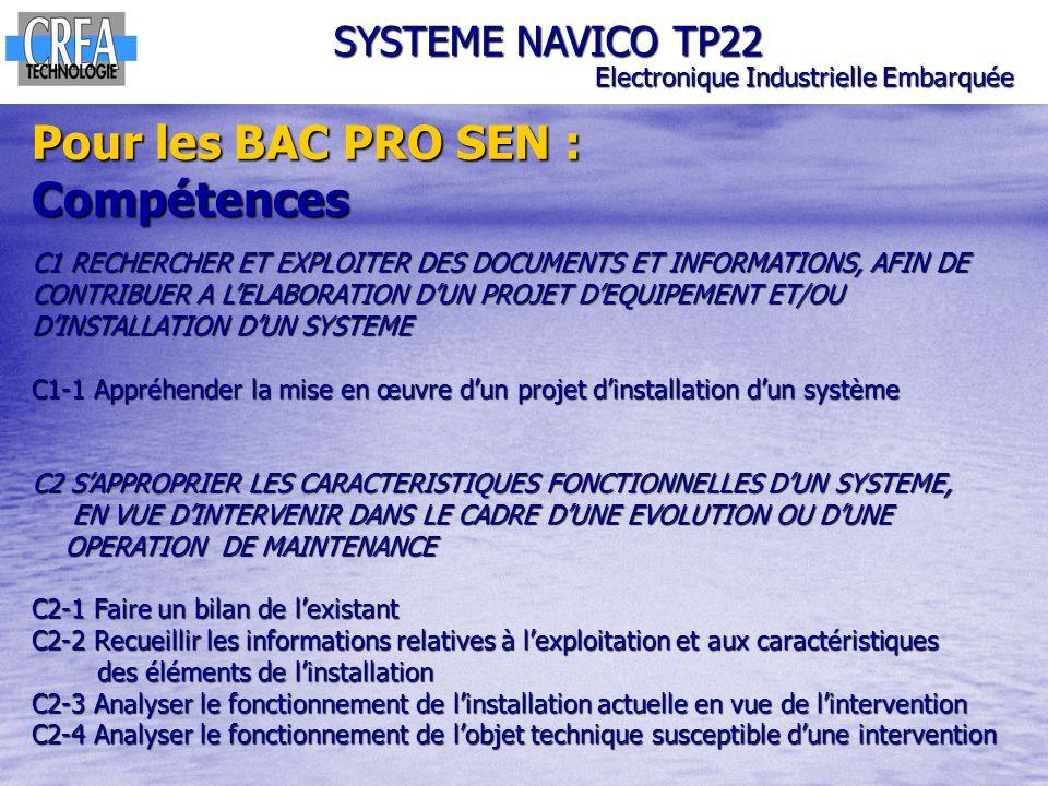 SYSTEME NAVICO TP22 Electronique Industrielle Embarquée Pour les BAC PRO SEN : Compétences C1 RECHERCHER ET EXPLOITER DES DOCUMENTS ET INFORMATIONS, A