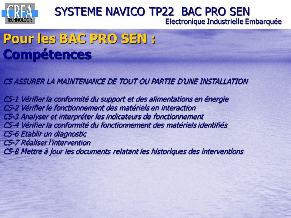 SYSTEME NAVICO TP22 BAC PRO SEN Electronique Industrielle Embarquée Pour les BAC PRO SEN : Compétences C5 ASSURER LA MAINTENANCE DE TOUT OU PARTIE DUN